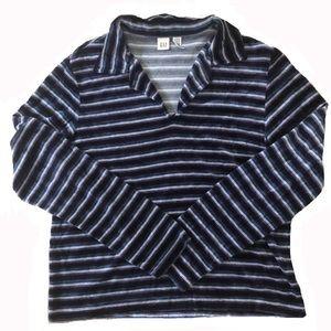 Vintage GAP Velour Striped Collared Shirt